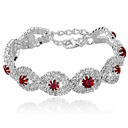 Long Way Women's Silver Plated Rhinestone Bracelets (Red)