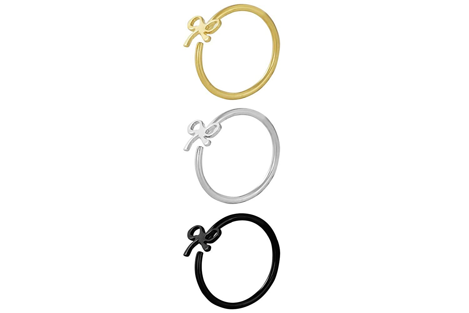 20g 8mm IP Plated Surgical Steel Bow Design Rings Forbidden Body Jewelry Set of 3 Nose Hoops or Cartilage Rings