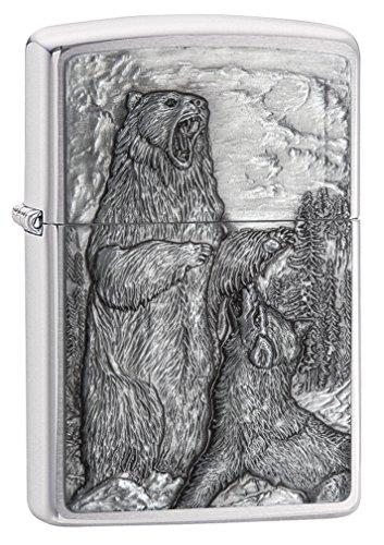 Zippo Bear vs Wolf Emblem Design Brushed Chrome -
