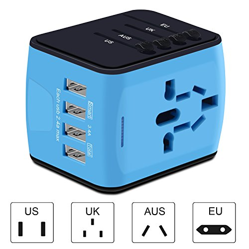 Universal Travel Adapter, International Power Adapter with 4 USB,European Adapter for UK,US,AU,India 150+ Countries,All in One Travel Plug Adapter for iPhone, Android,All USB Devices by HUANUO (Image #2)