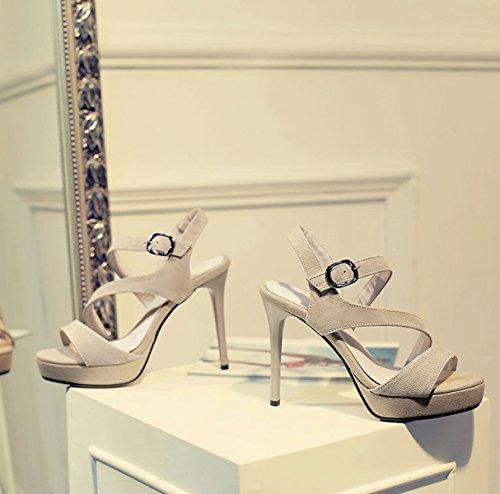 Tuyau Cuir apricot Chaussures pour Tête Mode Sandales Imperméable Hauts Ronde Europe Table Europe DKFJKI Manches Talons Femmes OpxSaAqA
