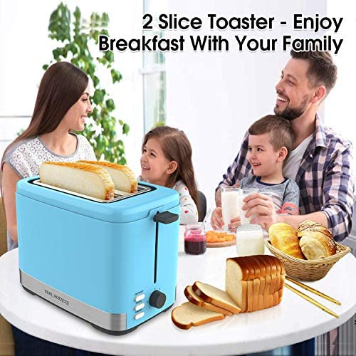 Toaster, 2 Slice Toaster Evenly And Quickly Bagel Toaster With 2 Wide Slots,7 Browning Dials And Removable Crumb Tray For Bread Waffles
