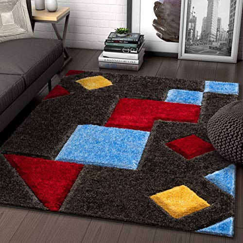 Well Woven Abbi Multi Boxes & Circles Thick Soft Plush 3D Textured Shag Area Rug 5x7 (5'3