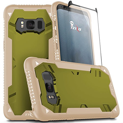Qi Dye Kit - Zizo Proton 2.0 Series Compatible with Samsung Galaxy S8 Case Military Grade Drop Tested with Tempered Glass Screen Protector Desert TAN CAMO Green