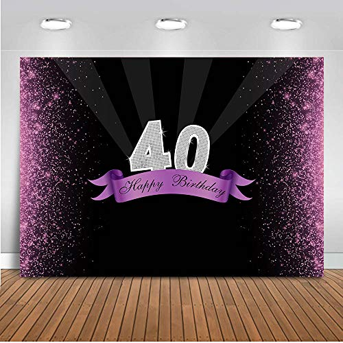 (COMOPHOTO 40th Birthday Theme Party Backdrop for Photography Bokeh Glitter Party Decoration Banner 7x5ft Fabric)