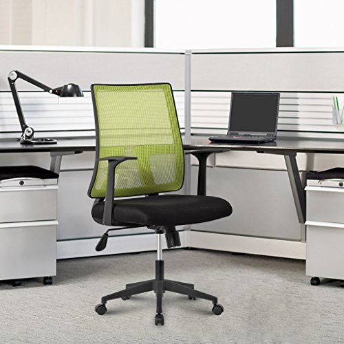 LANGRIA Mid-back Mesh Task Chair Swivel Computer Office Chair,Ergonomic Design, Max 285 lbs, Green