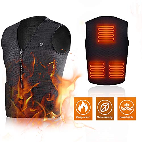 Lixada Electric Heated Vest USB Charging Heating Vest 3 Temp Setting Heating Thermal Vest Washable Flexible Electric Waistcoat for Outdoor Camping Hiking Golf Warm Clothes