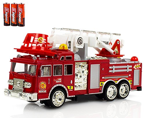 Fire Engine Truck Kids Toyl Kids Toy with Extending Ladder & Lights & Siren Sounds Vocal Phrases Bump & Go Action Fire Engine Truck