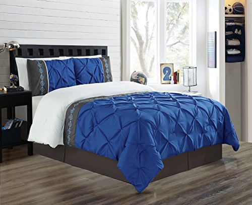 - 3 Piece King Size Royal Blue/Grey/White Double-Needle Stitch Puckered Pinch Pleat All-Season Bedding-Goose Down Alternative Embroidered Comforter Set