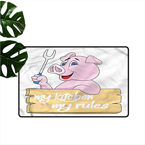 Modern Door mat Pig Pig Chef BBQ Barbecue Grill Suitable for Outdoor and Indoor use W30 xL39