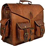 Vintage Leather Messenger Bag for Men Laptop Briefcases 18'' Satchel Handmade Bag