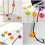 Cable Clip from HAPPYONLINE, Cable Management and Cord Organizer, multicolor (6pcs)