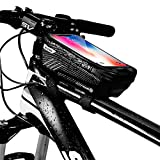 KT-GARY Bike Phone Mount Bag, Bicycle Front Frame Bag Waterproof Touch Screen Phone Case Holder Cycling Top Tube Frame Bag Storage Handlebar Bag for Phone Below 6.5 Inch