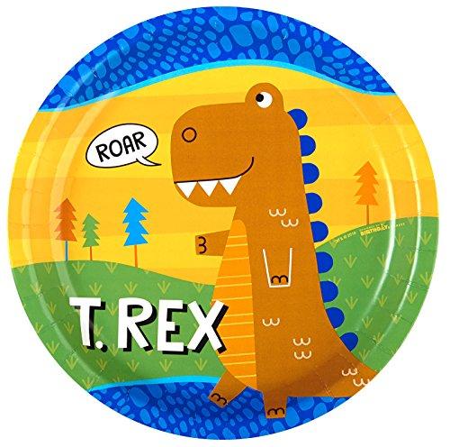 BirthdayExpress T-Rex Dinosaur Party Supplies - Dinner Plates (8)