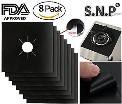 "Gas range protectors, Stove Burner Covers 0.2 mm, Non-Stick Stove Top Burner Protectors, FDA Approved, Set of 8, Black (10.6"" x 10.6"")"