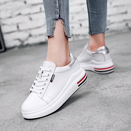 mujer grueso zapatos HWF White para Silver de mujer 38 zapatos placa primavera White grueso Zapatos solo de Tamaño Silver hembra ocasionales blanca Color Zapatos de deportes planos rqzwq5xXnU