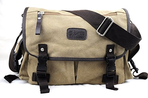 Khaki Versatile Canvas Messenger Shoulder Purpose Carry Bag wXwHOqr