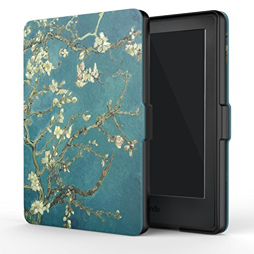 MoKo Case for Kindle E-reader (8th Generation 2016) -The Thinnest and Lightest  Cover with Auto Wake/Sleep for Amazon Kindle(6 Display, 8th Gen 2016 Release), Almond Blossom