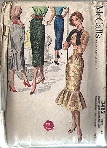 Cummerbund Pleated (Mccalls 3482 Vintage 1955 Sewing Pattern for Stunning Circular Hem-flounced Skirt with Cummerbund or Back Pleated Slim Skirt)