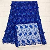 Lace - Latest French Nigerian Cord Laces Fabric with Stones Royal Blue African Laces Fabric Wedding African Tulle Laces JSA1-1 - (Color: 5)