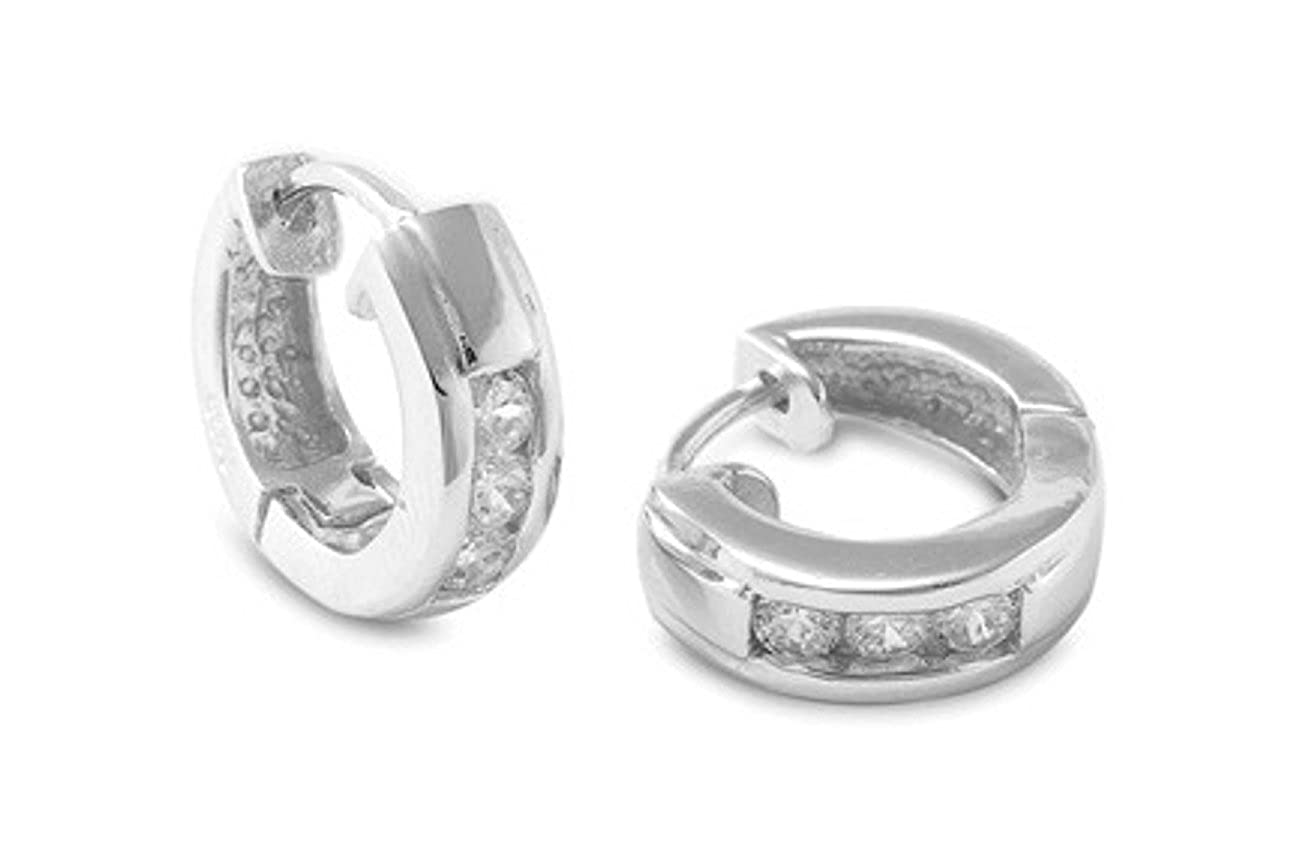 Sterling Silver 15mm Diameter Three Round Cubic Zirconia Stone Huggie Hoop Earrings