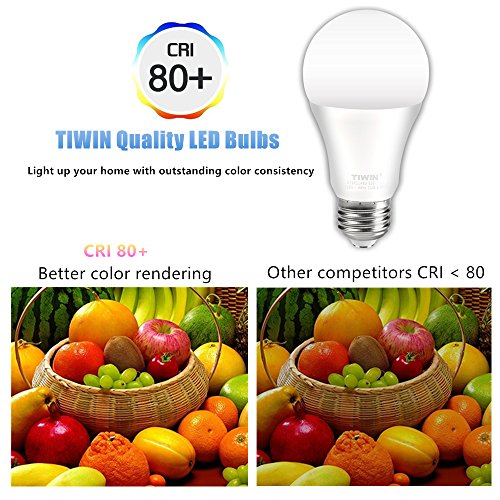 TIWIN LED Light Bulbs 100 watt Equivalent (11W),Soft White (2700K), General Purpose A19 LED Bulbs,E26 Base,UL Listed, Pack of 6 by TIWIN (Image #4)