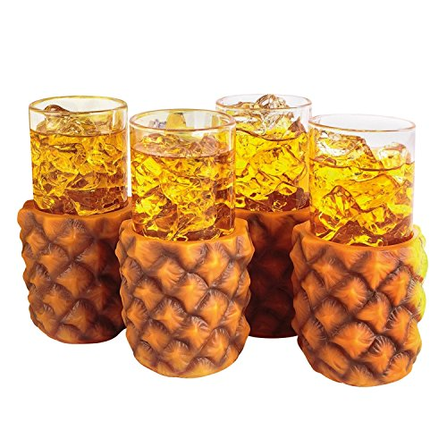 Pineapple Glasses 10oz / 285ml - Set of 4 - Gift Boxed Retro Hawaiian Cocktail ()