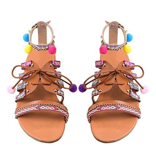 ZycShang Women Sandals Bohemia Sandals Gladiator Leather Sandals Flats Shoes Pom-Pom Sandals Size 4.5-9 Multicolor