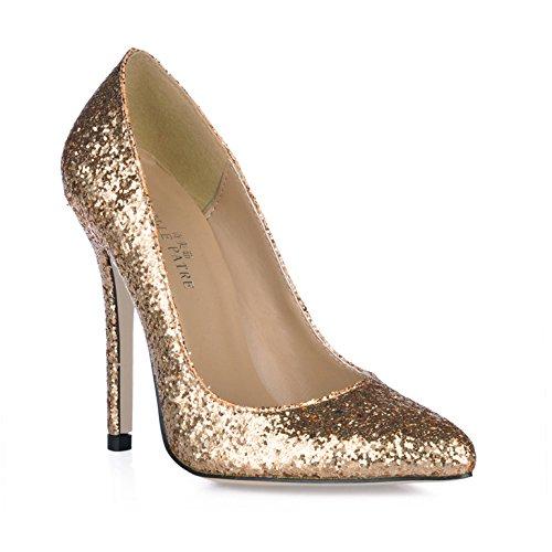 Single women fall sense the reformer wedding point women shoes gold on chip fine high-heel shoes Gold e9Gge6c77