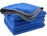 KinHwa Microfiber Car Drying Towels Super Absorbent Car Wash Towels Lint Free Car Cleaning Towels Ultra Soft Auto Detailing Cloth 380gsm (16Inch x 16Inch, blue 6pack)