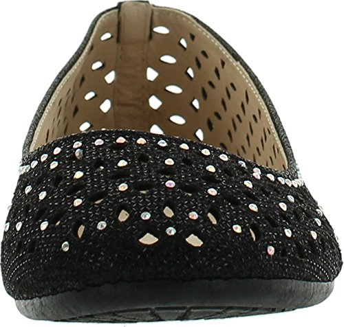 Flat 80A Quintus Sparkle Out Rhinestone Dress Ballet Cut Womens Perforated Black Bamboo Shoes Tgw5Exzqq