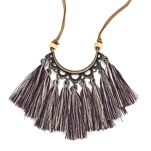 - Tassel Pendant Necklace Women,Haluoo Leather Pendant Necklace for Women Boho Handmade Tassel Necklace Hawaii Fringe Pendant Necklace Vintage Silky Strand Semi Circle Tassel Necklace (Purple)