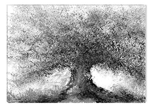 STARTONIGHT Canvas Wall Art Black and White Abstract Watercolor Tree Picture, Framed Wall Art 32 x 48 Inches
