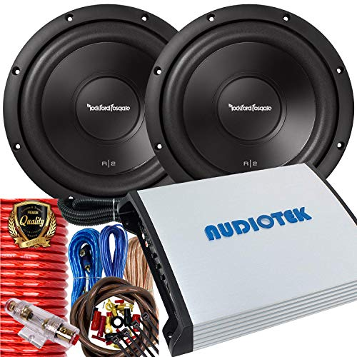 Pair of Rockford Fosgate R2D2-10 Prime R2 DVC 2 Ohm 10-Inch 500 Watts Peak Subwoofer + 2400W Monoblock Amplifier + Installation Kit Included