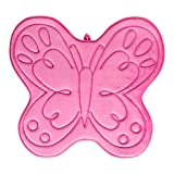 J&M Home Fashions Memory Foam Kid's Bath Mat Non Slip Ultra Soft and Absorbent 21x25, Machine Washable Fast Dry for Shower, Vanity, Bath Tub, Sink, and Toilet-Fuchsiax Pink Butterfly