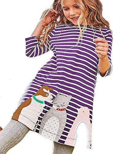Girls Winter Dresses Cartoon Cat Dog Bird Applique Purple Striped Tunic Blouse,5T/120cm,6#purplecat