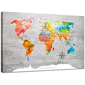 Inzlove Abstract Colorful World Map Canvas Painting Print Modern Watercolor Art for Living Room Wall Decor