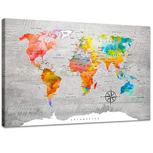 (Inzlove Abstract Colorful World Map Canvas Painting Print Modern Watercolor Art for Living Room Wall Decor)