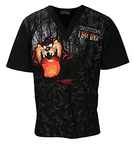 Tooniforms Unisex V-Neck Short Sleeve Top_Taz-O-Lantern_Medium (Halloween Scrubs)