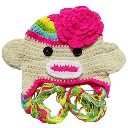 Stretchy Crochet Animal, Bug, Football, Cupcake Hat For Baby/Toddler - One Size (Rainbow Sock Monkey) -