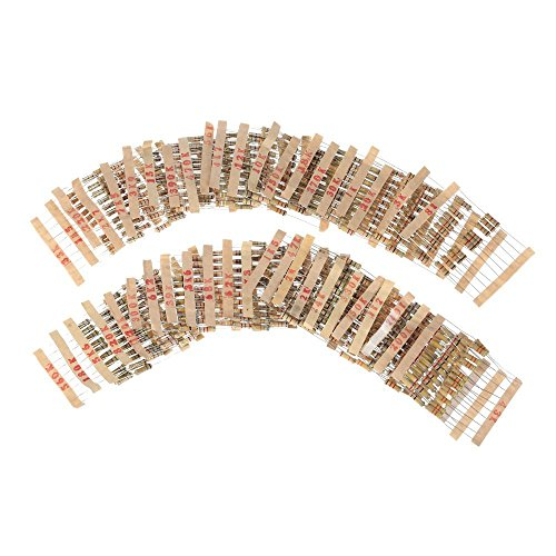 WINGONEER 480PCS 1W Watt 5% Carbon Film Resistors Assorted Kit Set 48 Values (1kohm~ 2M ohm) (1w 5% Carbon Resistor)