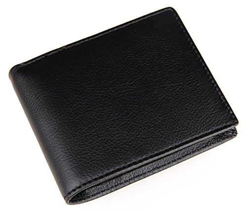 Polare Men's RFID Blocking Vintage Italian Genuine Leather Slim Bifold Wallet Handmade (Large Black) ()