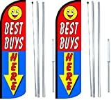 Best Buys Here King Windless Flag Sign With Complete Hybrid Pole set - Pack of 2