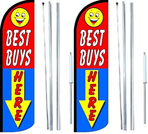 Best Buys Here King Windless Flag Sign With Complete Hybrid Pole set - Pack of 2 by OnPoint Wares