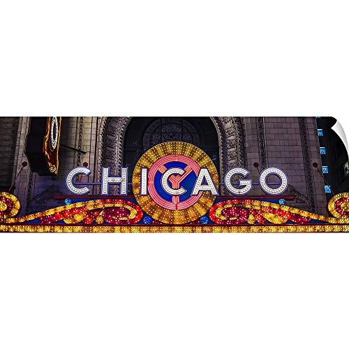 CANVAS ON DEMAND Chicago Theater Marquee at Night Wall Peel Art Print, 72