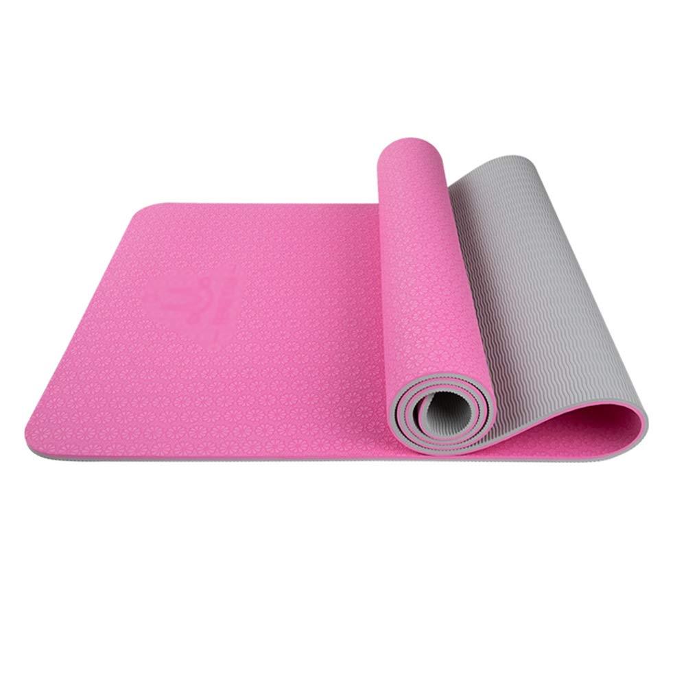 XF ヨガ マット ヨガマット - エコフレンドリーなTPE、肥厚と拡大、ノンスリップ、耐引裂性、女性と男性の初心者ヨガの多機能運動マット、床マット、サイズ:183cm×61cm フィットネストレーニング (色 : Two-color vine purple, サイズ さいず : 8mm) B07M6CGL5B 6mm|Two-color princess powder Two-color princess powder 6mm
