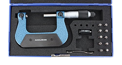 AccusizeTools - 1-2'' x 0.0001'' Screw Thread Micrometer with 5 Anvil in Fitted Box, S916-C751