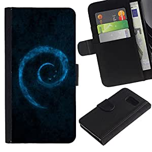 Planetar® Modelo colorido cuero carpeta tirón caso cubierta piel Holster Funda protección Para Samsung Galaxy S6 / SM-G920 ( Blue Swirl )