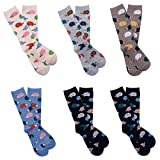 Fairy Clothes Hedgehog Christmas Winter Warm Women Cotton Crew Socks Cute Ciwei Socks (6 Pairs) (One size fits for adult shoe size 5 to 10, A)