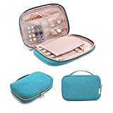 BAGSMART Travel Jewelry Storage Cases Jewelry Organizer Bag for Necklace, Earrings, Rings, Bracelet, Turquoise